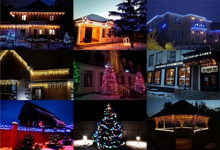 Украшение загородных домов и коттеджей светодиодными гирляндами